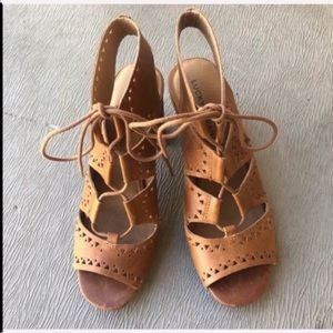 Cognac Tan Lucky Brand Lace up Block cage heel 9.5